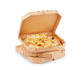 Pizza in plain open delivery box isolated on white background