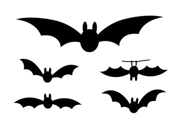 Bats icon set. Bat black silhouette with wings isolated white background. Symbol Halloween holiday, mystery cartoon dark vampire, night flyin element. Spooky scary flat design. Vector illustration