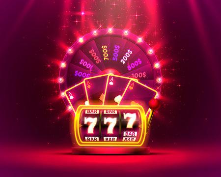 Casino neon colorful fortune wheel, Neon slot machine wins the jackpot.