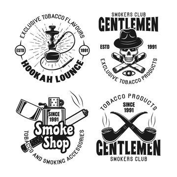 Gentleman smokers club, hookah lounge emblems