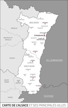 Carte de la région Alsace et ses principales villes. Fichier éditable et multi-calques.