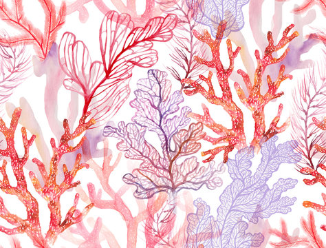 Watercolor corals. Seamless pattern with the underwater world