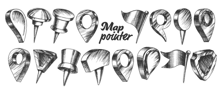 Collection Of Different Map Pointer Set Vector. Thumbtack Pushpin Pointer And Gps Location Marker In Triangle Drop Cylinder Shield And Flag Form. Designed In Vintage Style Cartoon Illustration
