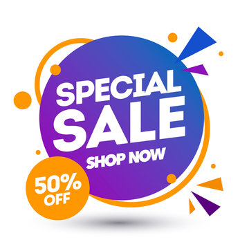 Vector illustration special sale banner design template, discount app icon