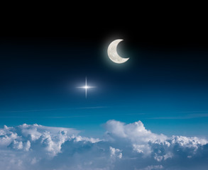 fantasy night sky background with star, moon and clouds