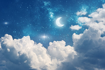 night sky background with stars, moon and clouds