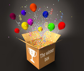 winner box with confetti and colorful balloons, win and prizes concept 3D illustration