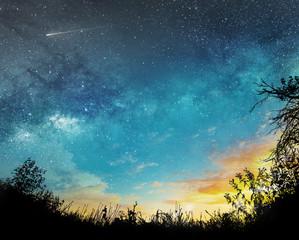 sunset to night sky
