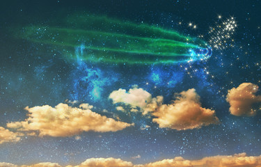 a night sky background with stars, comet and clouds