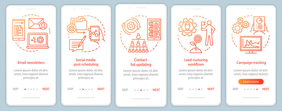 Marketing automation orange onboarding mobile app page screen vector template. Software platforms walkthrough website steps with linear illustrations. UX, UI, GUI smartphone interface concept
