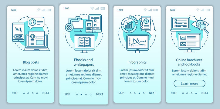 Awareness content turquoise gradient onboarding mobile app page screen vector template. Blog posts walkthrough website steps with linear illustrations. UX, UI, GUI smartphone interface concept