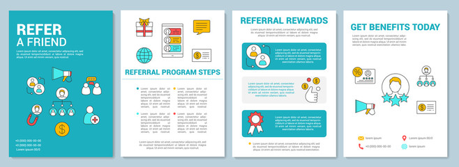 Marketing referral program brochure template layout. Flyer, booklet, leaflet print design with linear illustrations. Vector page layouts for magazines, annual reports, advertising posters