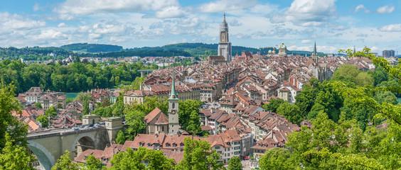 Fototapete - Panorama view of historical city Bern of Swiss