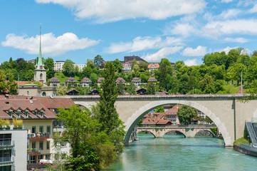 Fototapete - Bridge over River Aare in Bern, Switzerland.