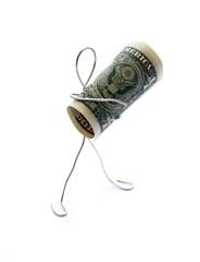 Man Holding One Dollar Bill