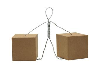 Man Between Cardboard Boxes