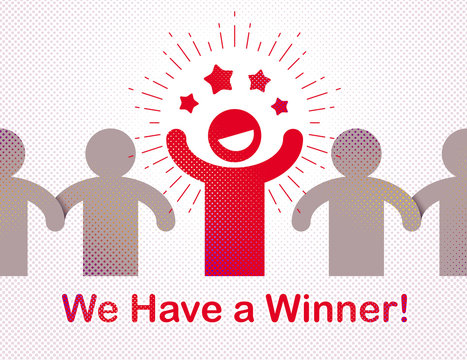 We have a winner vector concept of leadership, victory and success, lottery and gamble champion.
