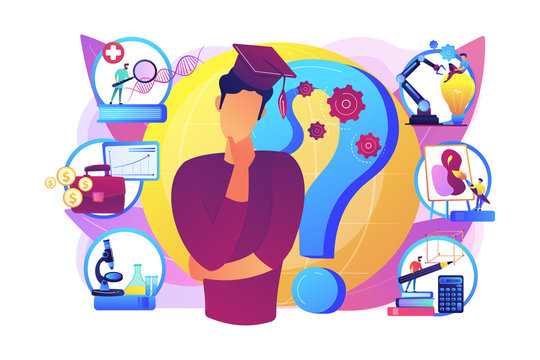 Postgraduate, career opportunities for young specialist. College choice advisor, college rankings, career assessment test concept. Bright vibrant violet vector isolated illustration