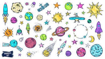 Autocollant pour porte Cartoon draw Space doodles set. Astronomy. Cosmic sketches. Zodiac. Planets. Moon and stars. Sun. Spaceship. Meteor. Comet. Alien. Asteroid. Constellation. Universe scribbles. Galaxy collection.