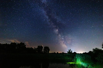 Fotobehang Chocoladebruin Starry sky and the milky way over water and trees.