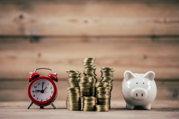Small house add coin column The concept of saving money, investment properties
