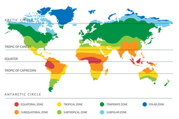 World Climate Map with Temperature Zones Wall mural