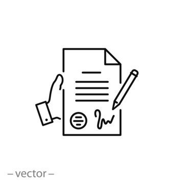 contract icon, pact or accord, agreement, convention signature thin line symbol for web and mobile phone on white background - editable stroke vector illustration eps10