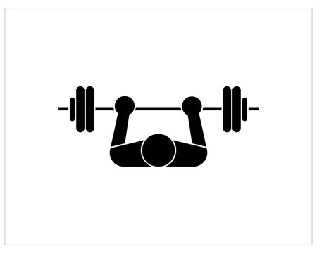 Bench press monochrome icon isolated on white background.- vector
