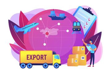 Established international trade routes. Selling goods overseas. Export control, export controlled materials, export licensing services concept. Bright vibrant violet vector isolated illustration