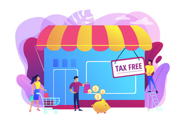 Opening new business, startup without taxation. Tax free service, VAT free trading, refounding VAT services, duty free zone concept. Bright vibrant violet vector isolated illustration