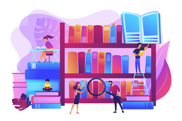 Reading books, encyclopedias. Students studying, learning. Public library events, free tutoring and workshops, library homework help concept. Bright vibrant violet vector isolated illustration