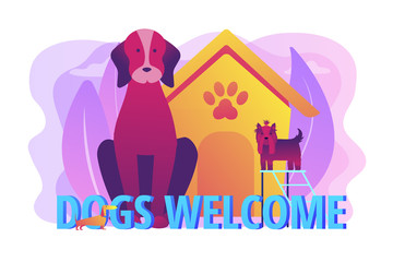 Pet-friendly zone, pet amenities. Allowing pet into facilities. Dogs friendly place, dogs special area, dogs welcome here concept. Bright vibrant violet vector isolated illustration