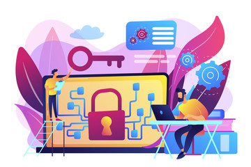 Personal digital security. Defence, protection from hackers, scammers. Data breaches, data leakage prevention, encryption for databases concept. Bright vibrant violet vector isolated illustration