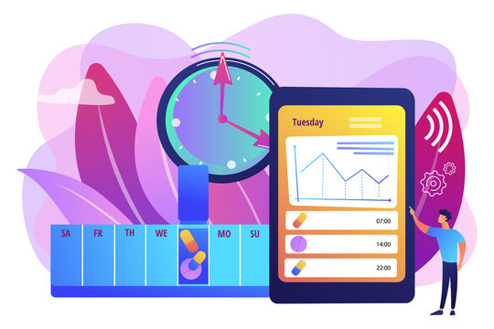 Smart, digital perscribed pill, remedy boxes. app controlled medication, medication minding device, set medication schedule concept. Bright vibrant violet vector isolated illustration