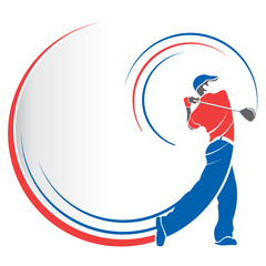 Abstract drawing of a red and blue man playing golf with lines following the movement of the golf club on a white background with speed lines that follow his body. Vector image