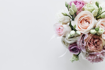 Beautiful spring bouquet with pink and white tender flowers Fotobehang