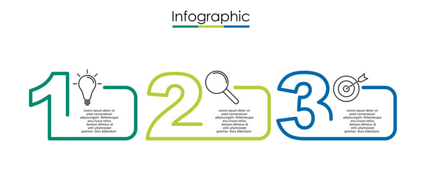 Vector infographic template with three steps or options. Illustration presentation with line elements icons.  Business concept design can be used for web, brochure, diagram