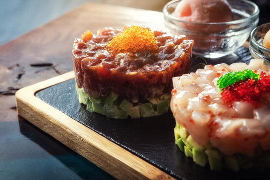 Seafood salad. Delicacies. A restaurant.
