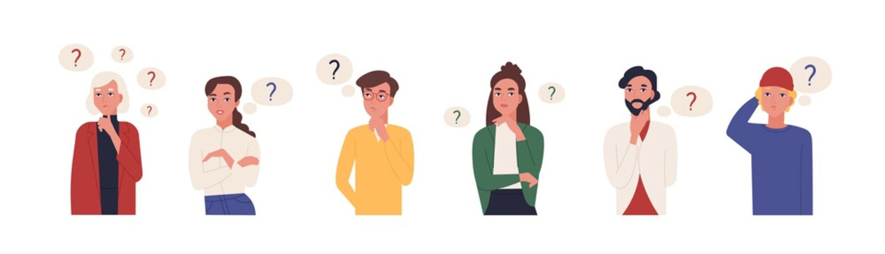 Collection of portraits of thoughtful people. Bundle of smart men and women thinking or solving problem. Set of pensive boys and girls surrounded by thought bubbles. Flat cartoon vector illustration.