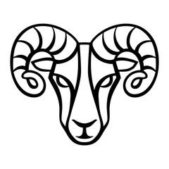 Aries zodiac sign, black horoscope symbol.