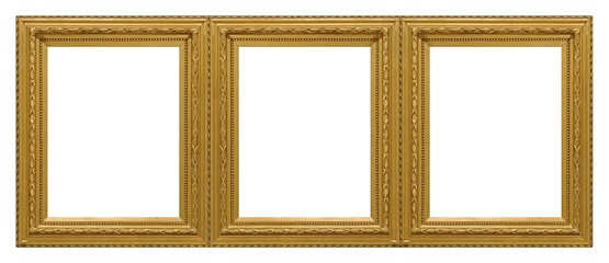 Triple golden frame (triptych) for paintings, mirrors or photos isolated on white background