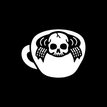 Skeleton and coffee on black background