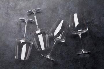 Wine glasses on stone table