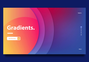 Website Landing Page Template with Gradients