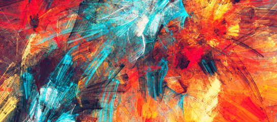 Bright artistic splashes. Abstract painting color texture. Modern futuristic pattern. Dynamic bright vibrant background. Fractal artwork for creative graphic design Fotomurales