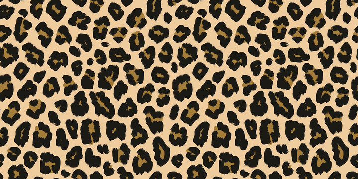 Leopard print. Vector seamless pattern. Animal jaguar skin background with black and brown spots on beige backdrop. Abstract exotic jungle texture. Repeat design for decor, fabric, textile, wallpapers
