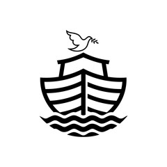 Logo of Noah's Ark. Dove with a branch of olive. Ship to rescue animals and people from the Flood. Biblical illustration.