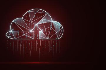 Fotobehang - Glowing red digital cloud