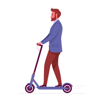 Modern vehicles. Vector illustration of adult bearded businessman in a suit, riding electric scooter. Isolated on white.