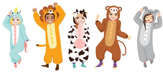 Happy five people wearing animal onesie costume on Halloween pajama party celebration Wall mural